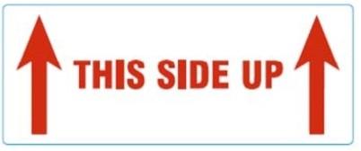Etiketten waarschuwing wit bedrukt this side up met twee pijltjes 150x60mm