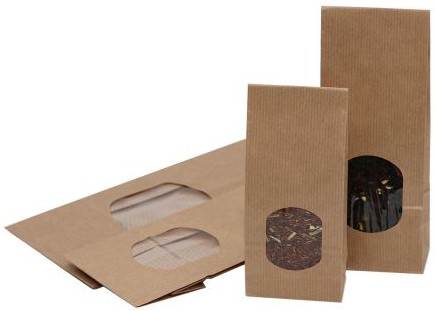 Blokbodemzak 70+40x205mm met venster