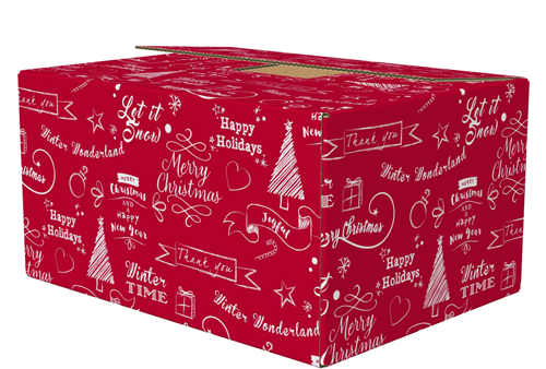 Kerstpakketdoos 390x290x175mm Happy holidays rood C175