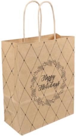 Papieren koorddraagtas 18x8x22cm Happy Holiday