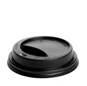 Koffiebeker deksel ZWART 90mm open hoog 11804 10/12/16/20oz zwart