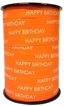 Lint Paperlike 10mm 250 meter - oranje Happy Birthday $