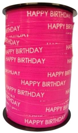 Lint Paperlike 10mm 250 meter - roze Happy Birthday$