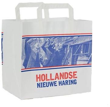 Hollandse Nieuwe Haring draagtas witkraft 26x17x26 cm
