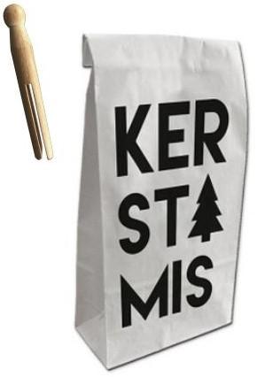 Paperbag wit kerstmis in zwart 280x110x600mm +wasknijper