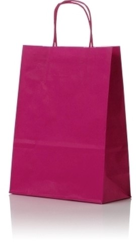 Papieren koordtas 32+12x41cm Fuchsia
