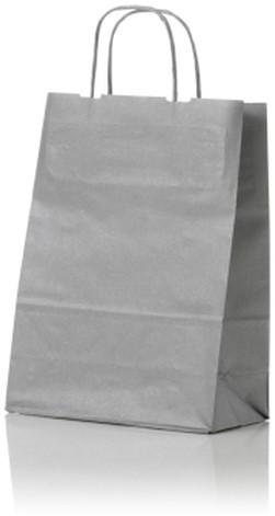 Papieren koordtas 32+12x41cm Zilver