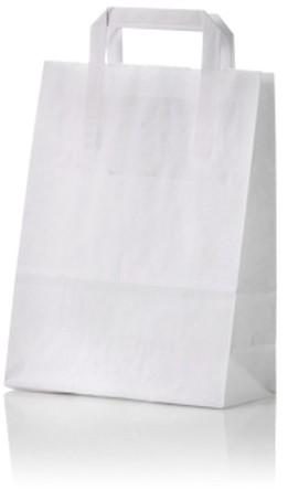 Papieren draagtas 32+15x43cm wit 91118