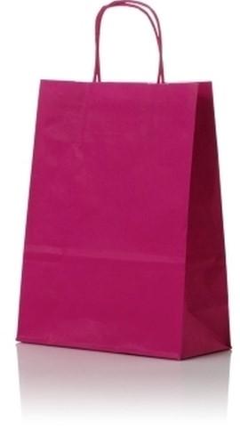 Papieren koordtas 22+10x31cm Fuchsia
