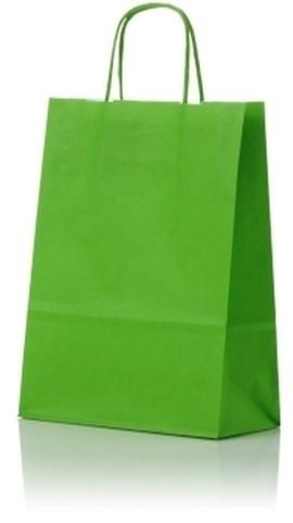 Papieren koordtas 22+10x31cm Lime