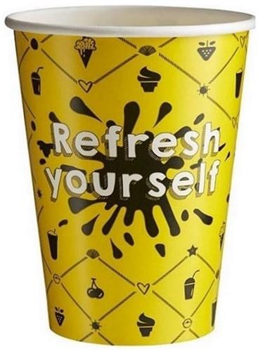 Milkshake beker 300cc Refresh geel