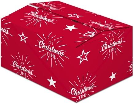 Kerstpakketdoos 390x290x175mm Time Rood C175 $